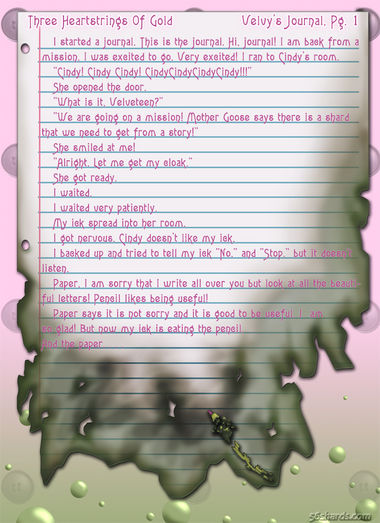 """Three Heartstrings Of Gold"" 1: Velvy's Journal, Pg. 1"