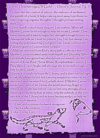 """Three Heartstrings Of Gold"" 5: David's Journal, Pg. 1"