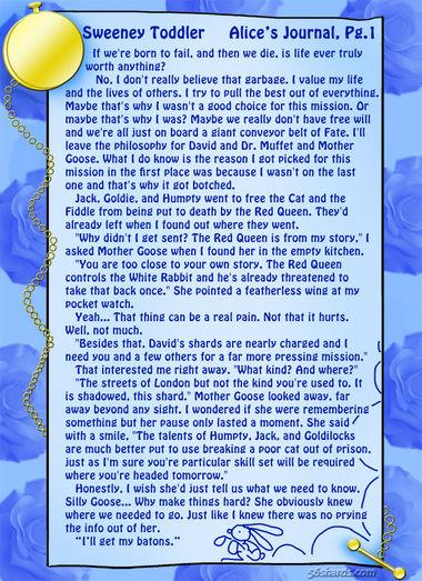 """Sweeney Toddler"" 1: Alice's Journal, Pg. 1"
