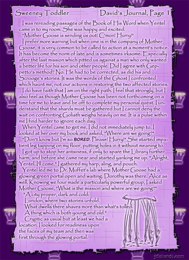 """Sweeney Toddler"" 3: David's Journal, Pg. 1"