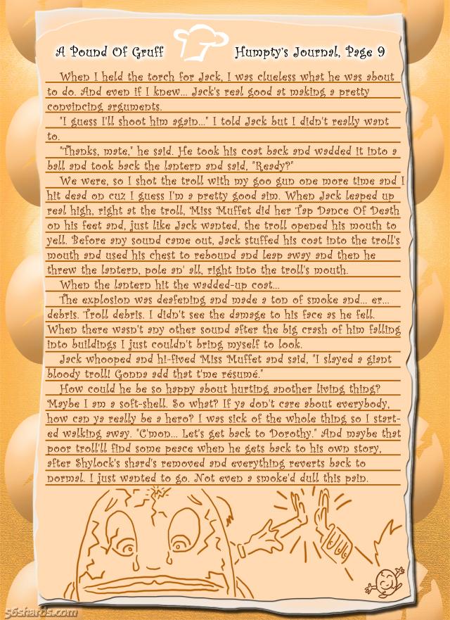 """A Pound Of Gruff"": Humpty's Journal, Pg. 9"