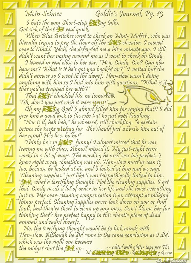"""""""Mein Schnee"""" 65: Goldie's Journal, Pg.13"""